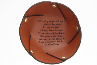 Personalised leather ring dish engraved with song lyrics