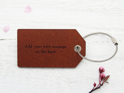 Your message on back of leather luggage tag