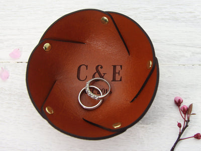 Personalised leather ring dish with wedding rings
