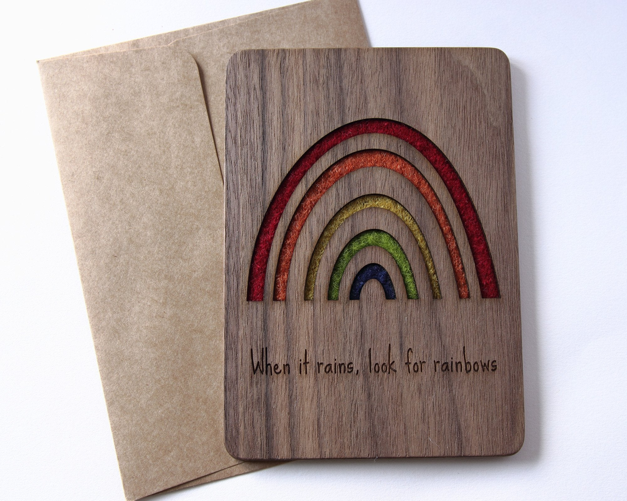 Rainbow wood card with positive message