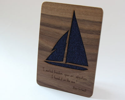 Blue sailing boat card for fathers day