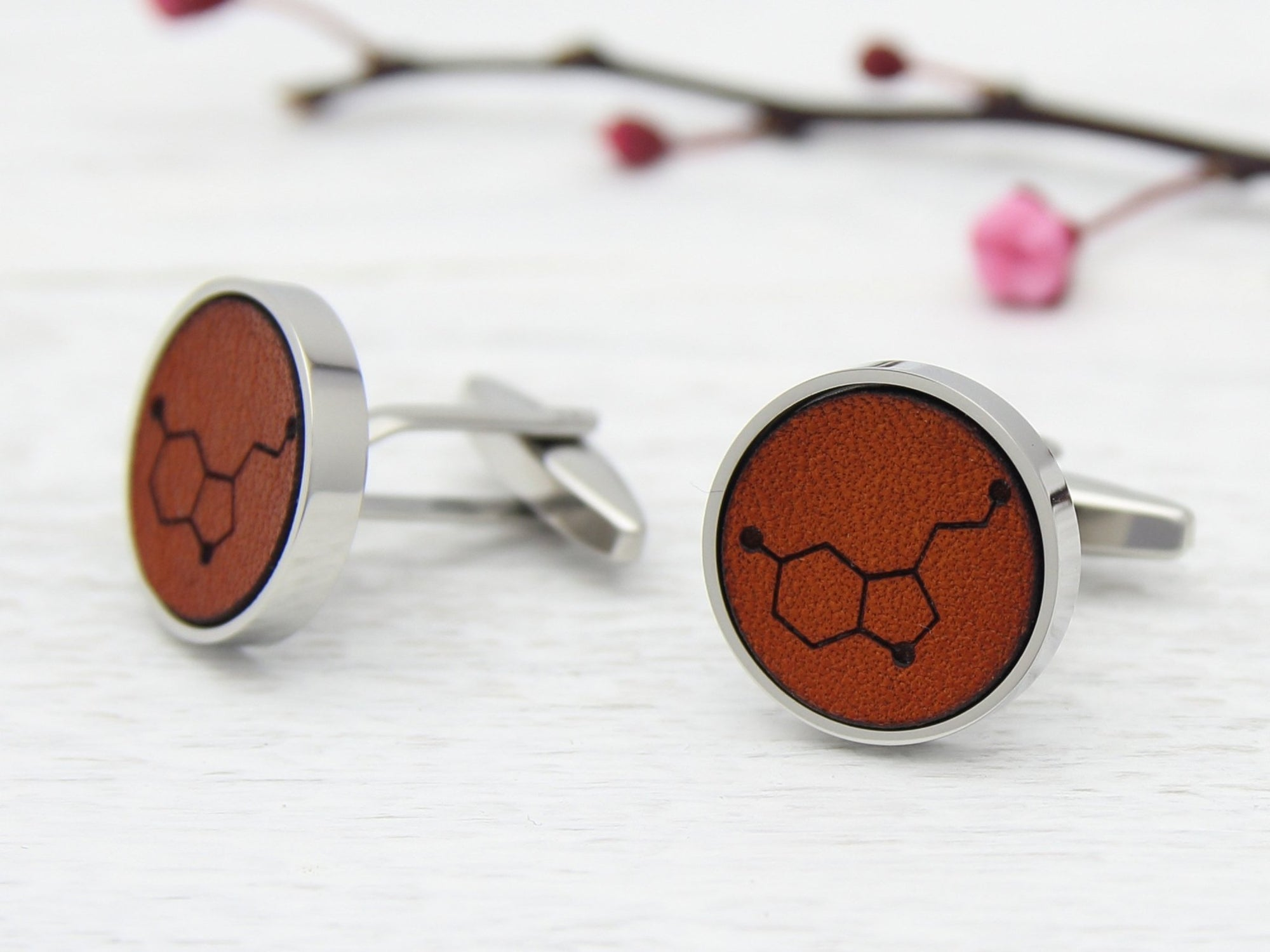 Leather Engraved Cufflinks with Serotonin Molecule