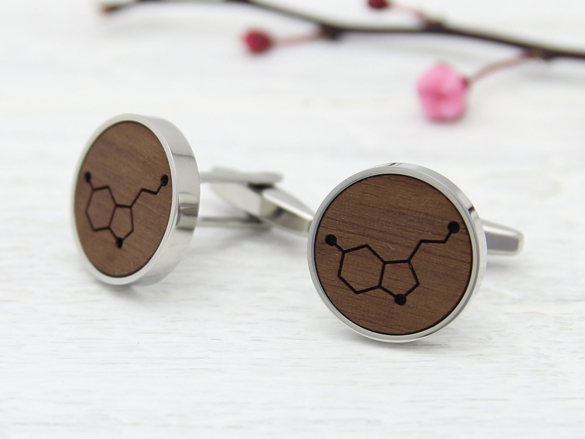 Serotonin Engraved Cufflinks Custom Made in the UK in Solid Wood