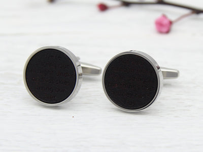Leather Engraved Cufflinks with Lyrics or Wedding Vows for Anniversary or Wedding