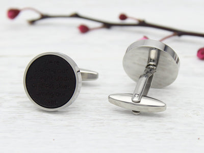 Leather Anniversary Personalised Cufflinks with Song Lyrics
