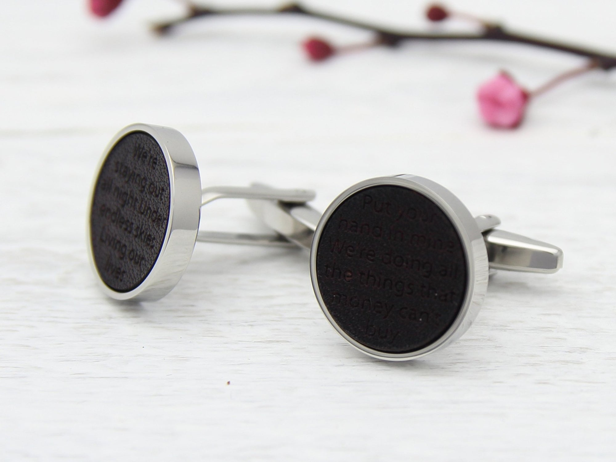 Song Lyrics Cufflinks Leather Engraved Gift for Him