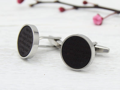 Leather Cuff Links Personalised with Engraved Song Lyrics