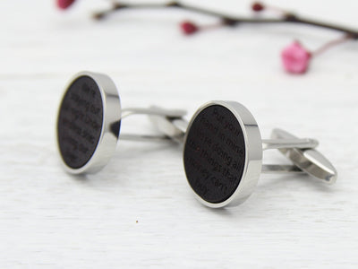 Wedding Vows Cufflinks Gift for Groom in Dark Chocolate Leather