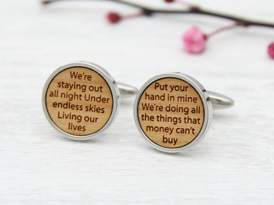 Cufflinks for Groom Customised with Song Lyrics in Wood