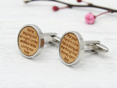 Cuff Links for Groom Personalised with Song Lyrics in Wood