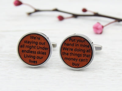Tan Leather Engraved Cufflinks Personalised with lyrics or words