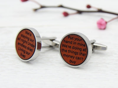 Customised Cufflinks with Song Lyrics or Wedding Vows Engraved in Leather