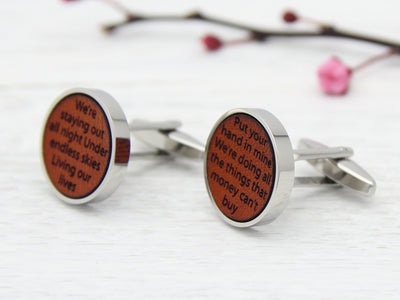 Song Lyrics Cufflinks Engraved in Tan Leather