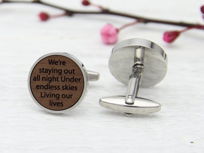 Customised 5th Anniversary Engraved Wedding Vows Cufflinks