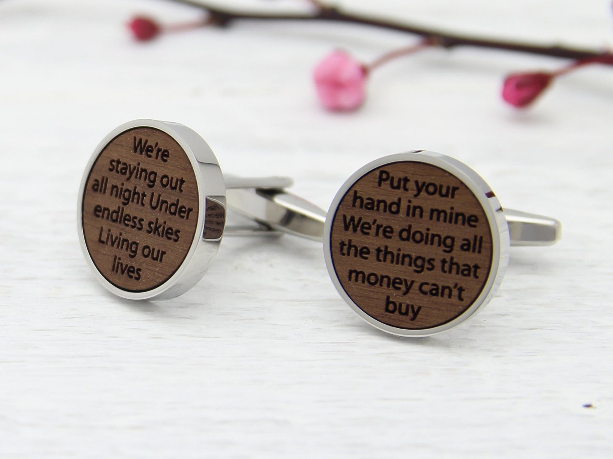 Personalised Cufflinks with song lyrics engraved into walnut wood