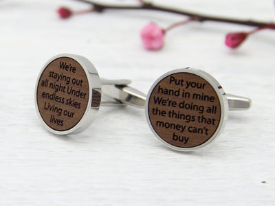 Song Lyrics Cufflinks - Wood