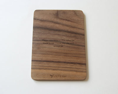 Personalised message engraved on back of walnut wood card