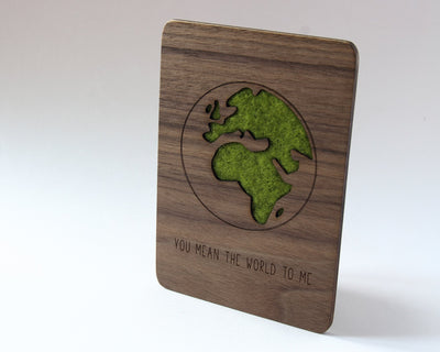You mean the world to me walnut wood card and green wool detail