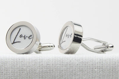 Love Print Cotton Anniversary Gift Cufflinks