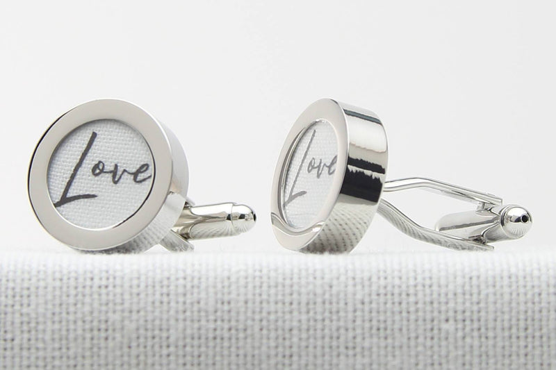 Cotton anniversary gift Cufflinks with Love Print