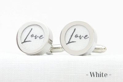Linen Anniversary Cufflinks with Love print on white linen