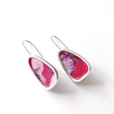 Pendant & Earrings in Fuchsia - Cotton