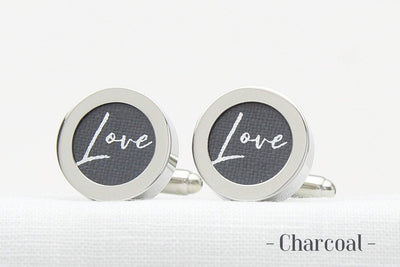 Love Print Linen 4th wedding anniversary cufflinks