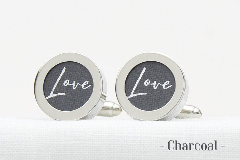 4th wedding anniversary cufflinks - Love print on linen