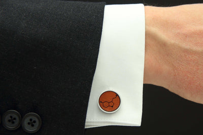 Model wearing happiness leather engraved cuff links