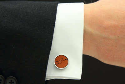 Model shot of adrenaline tan leather cuff link