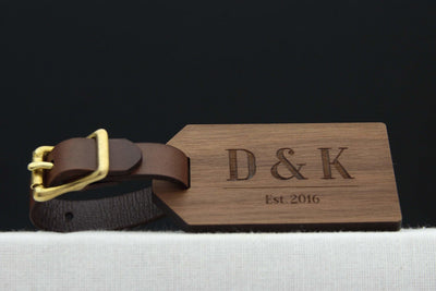 Wood luggage label personalised with initials and date