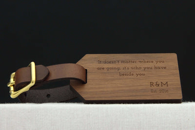 Wood luggage tag for 5th anniversary gift