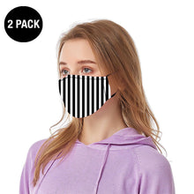 Load image into Gallery viewer, Black & White Striped Reusable Face Mask - 2 Pack