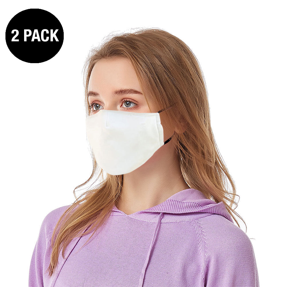 White Reusable Face Mask - 2 Pack