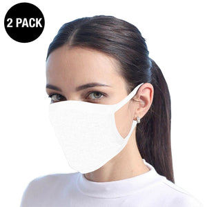 White Reusable Cotton Face Mask - 2 Pack