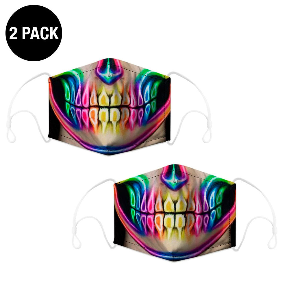 2 Pack Neon Skull Reusable Face Mask
