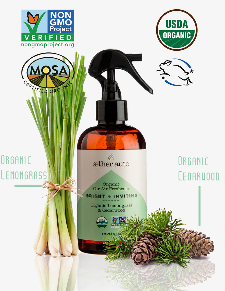 Bright + Inviting - Organic Lemongrass and Cedarwood Car Air Freshener and Deodorizer - Aether Auto