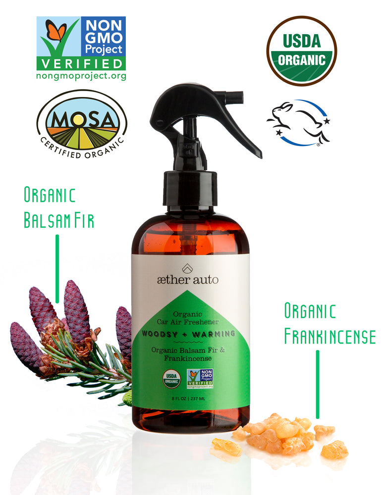 Woodsy + Warming - Organic Balsam Fir and Frankincense Car Air Freshener and Deodorizer - Aether Auto