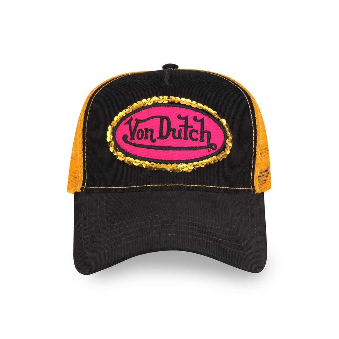 GOLD SEQUIN ON BLACK/YELLOW TRUCKER