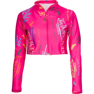 Hot Pink All Over Print Sport Crop Jacket