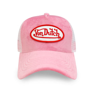 PINK CRUSH VELVET TRUCKER