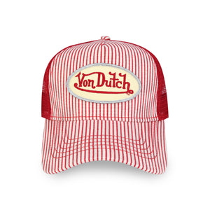 RED AND WHITE STRIPED TRUCKER