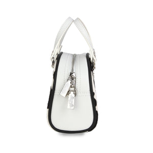 Black & White Cow Print Pony Hair Leather Small Bowling Bag