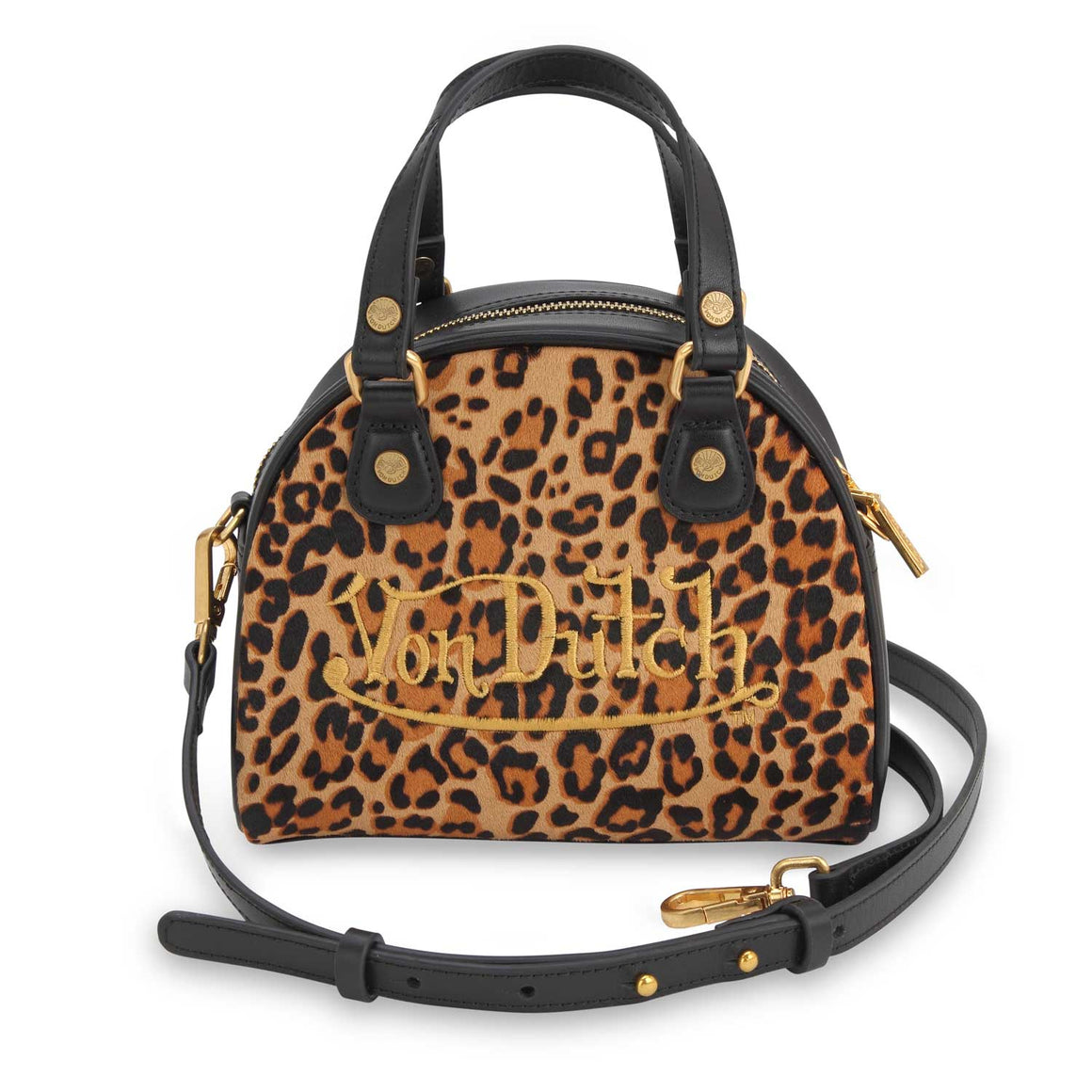 Leopard Print Pony Hair Leather Small Bowling Bag