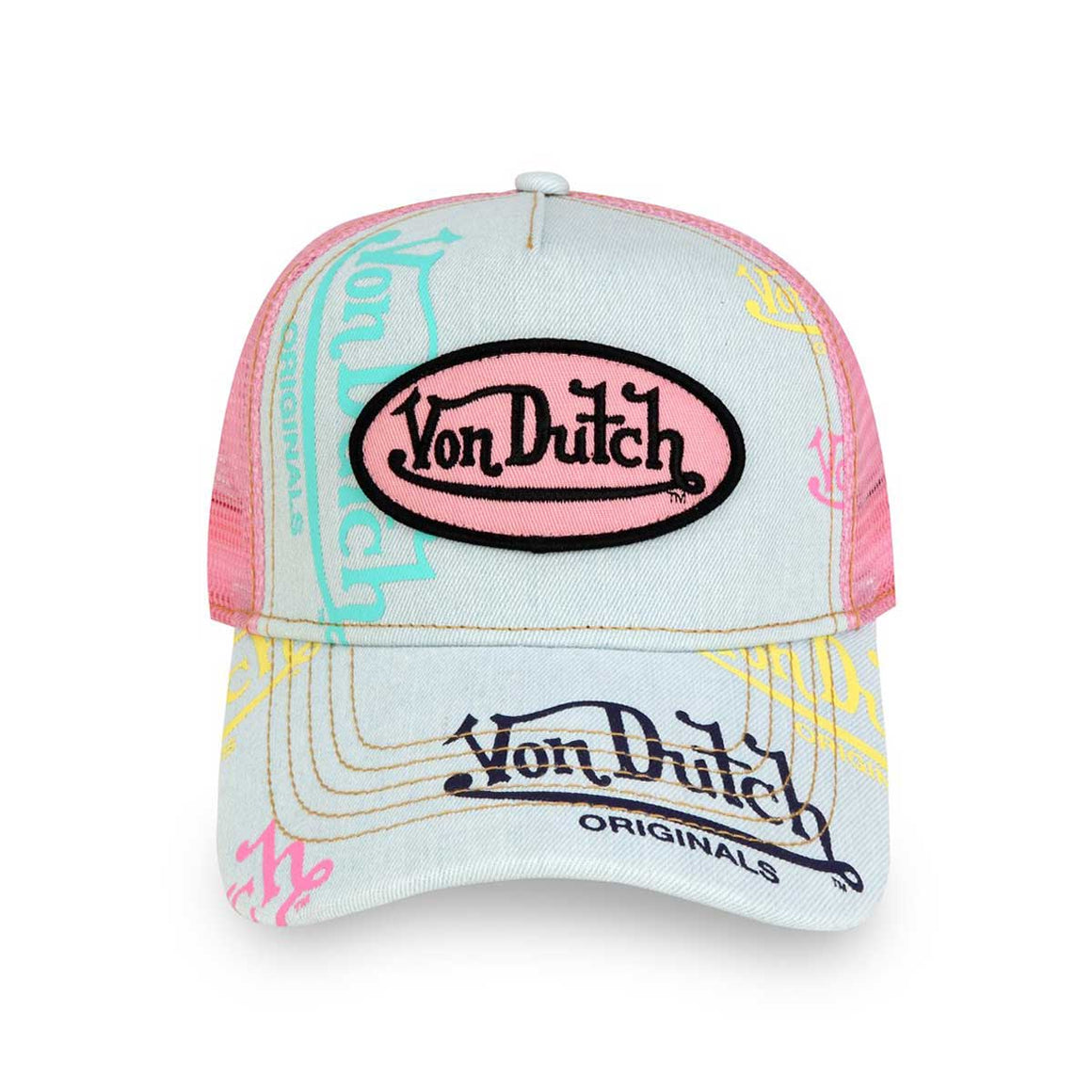 LIGHT DENIM AND PINK LOGO TRUCKER