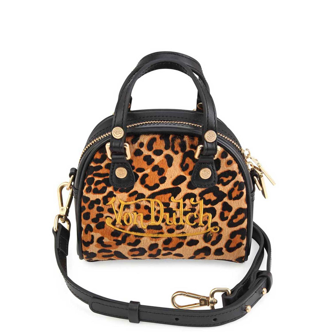Leopard Print Pony Hair Leather Micro Mini  Bowling Bag