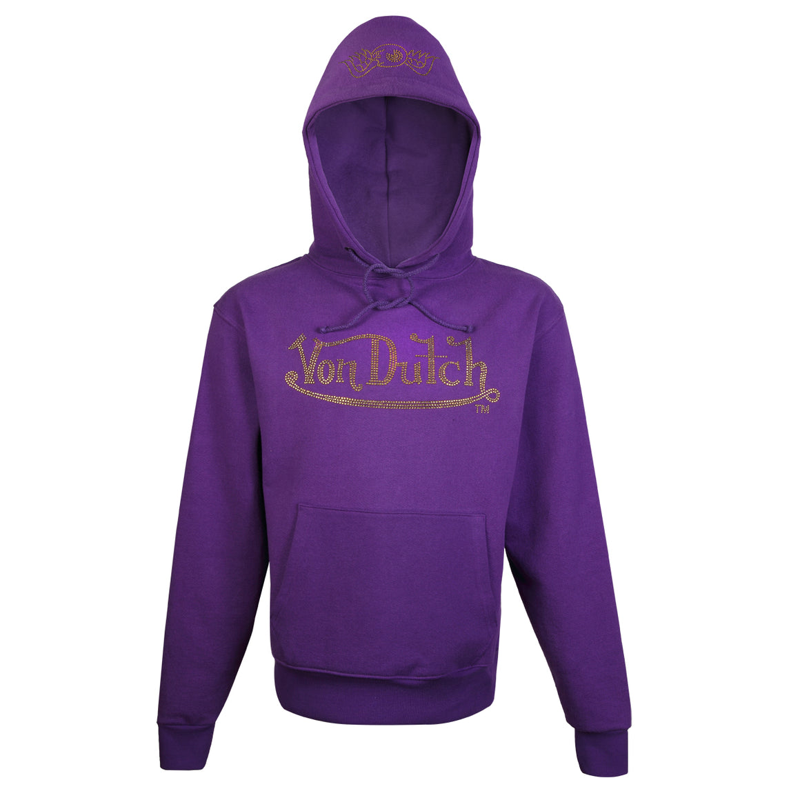 Hoodie Purple with Gold Rhinestones