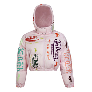 Pink All Over Print Women's Stef Crop Puffer Jacket