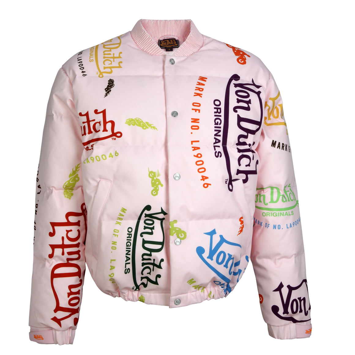 Pink All Over Print Unisex Puffer Jacket