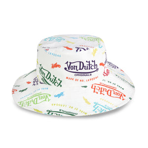 White All Over Print Bucket Hat